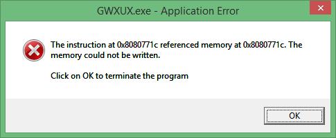 wie GWXUX.exe Anwendungsfehler zu entfernen