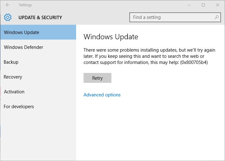 entfernen Sie Windows 10 Update-Fehler 0x800705b4