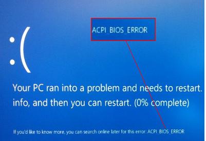 Löschen von ACPI_BIOS_ERROR in Windows 10