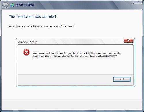 Correction d'erreur 0x80070057-code d'erreur
