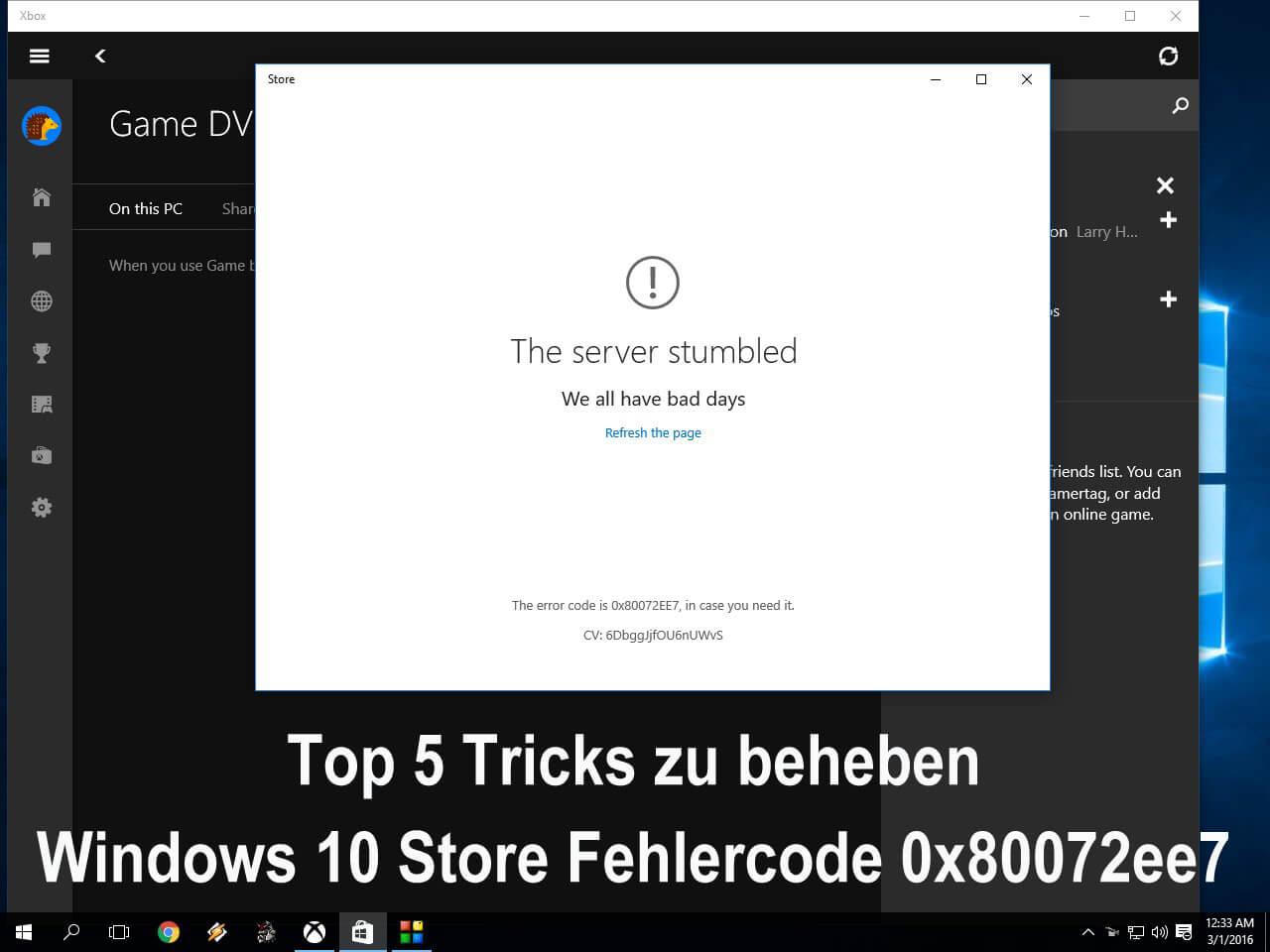Fehlercode 0x80072ee7