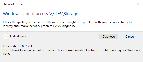 Netzwerkfehler 0x800704cf loswerden