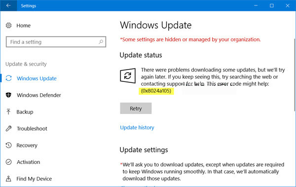 Windows Update Fehlercode 0x8024a105 reparieren