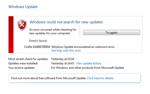 Windows 10 Fehlercode 0x8007000d