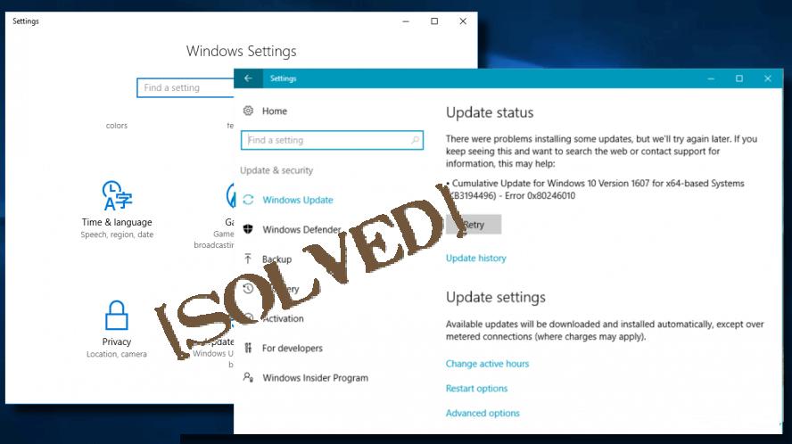 Aktualisieren Sie Fehler 0x80246010 unter Windows 10,