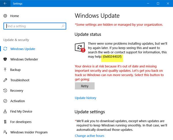 Windows 10 Update 0x8024402f