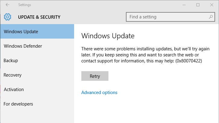 Windows 10 Update Fehler 0x80070015
