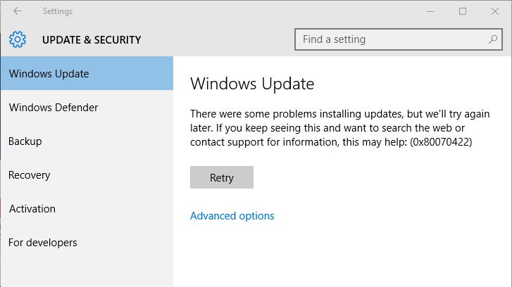 reparieren Sie Windows 10 Fehlercode 0x80070422