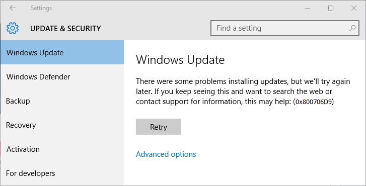 riparare Update Error Code 0x800706D9