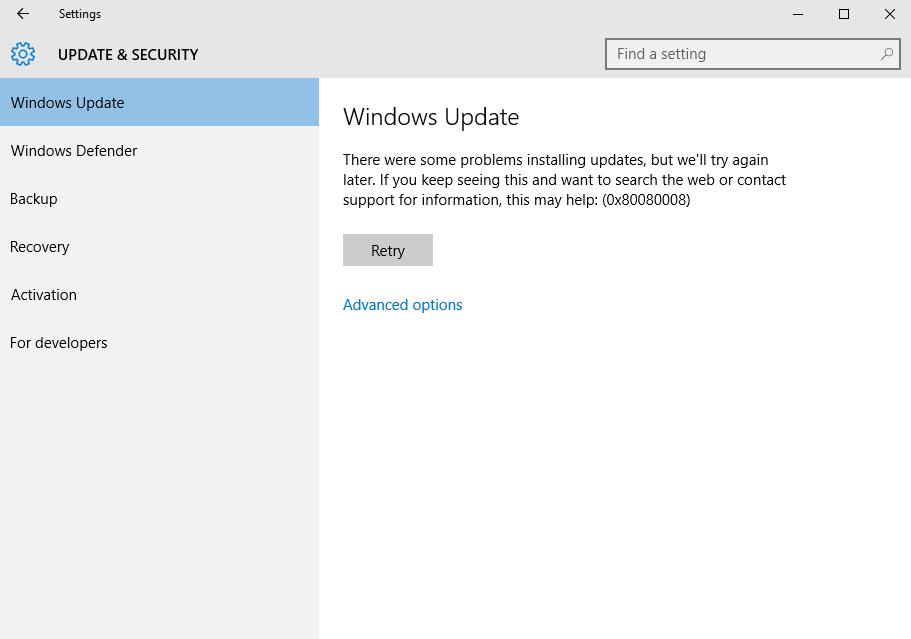 Update Fehler 0x80080008 entfernen