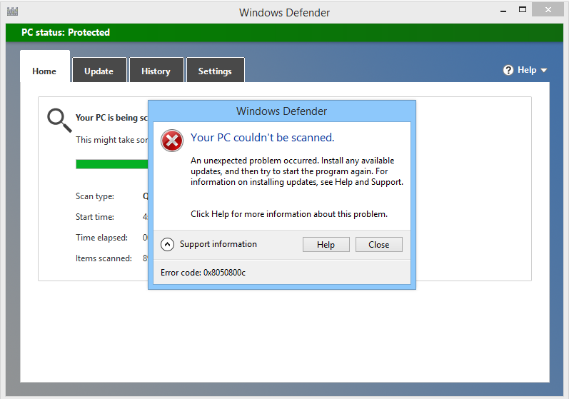 entfernen Sie den Windows Defender-Fehlercode 0x8050800c