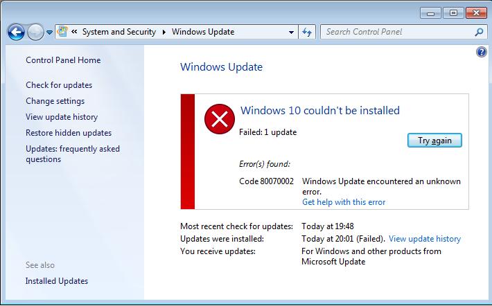 lösen Windows 10 System 0x800703F1 Fehler