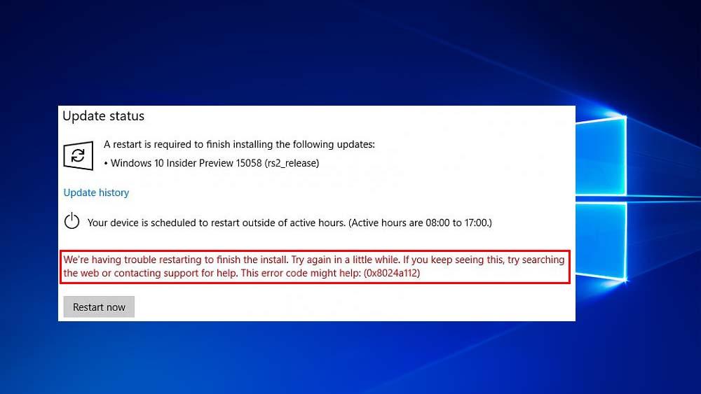 löschen Sie Windows 10 Update Fehler 0x8024a112