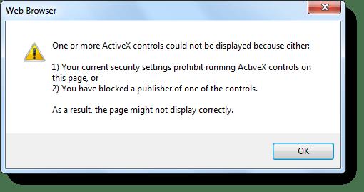 """Fix """"Ihre aktuellen Sicherheitseinstellungen verbieten das Ausführen von ActiveX"""""""