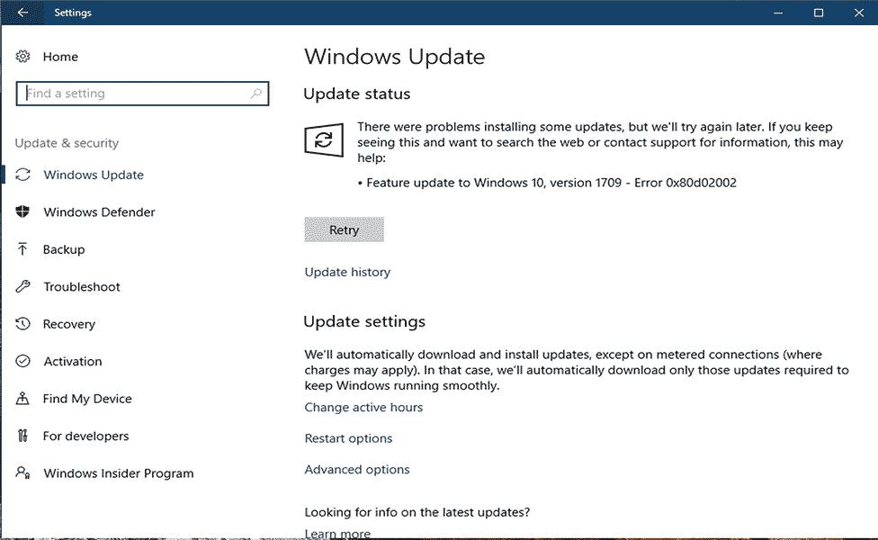 Windows Update Fehler 0x80d02002 entfernen
