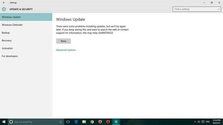 Windows 10 Update-Fehler 0x80070422 reparieren