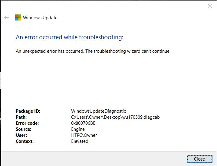 Windows 10 Update Fehler 0x800706be löschen
