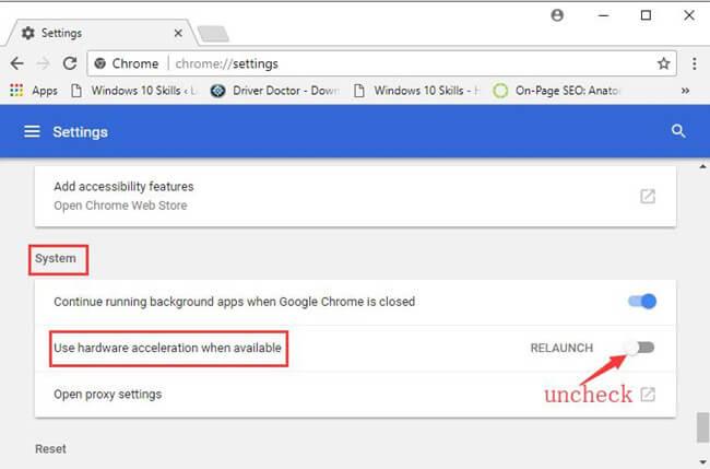 Chrome Hardwarebeschleunigung